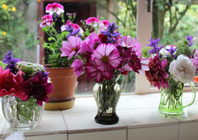 Table vase with flowers from the garden